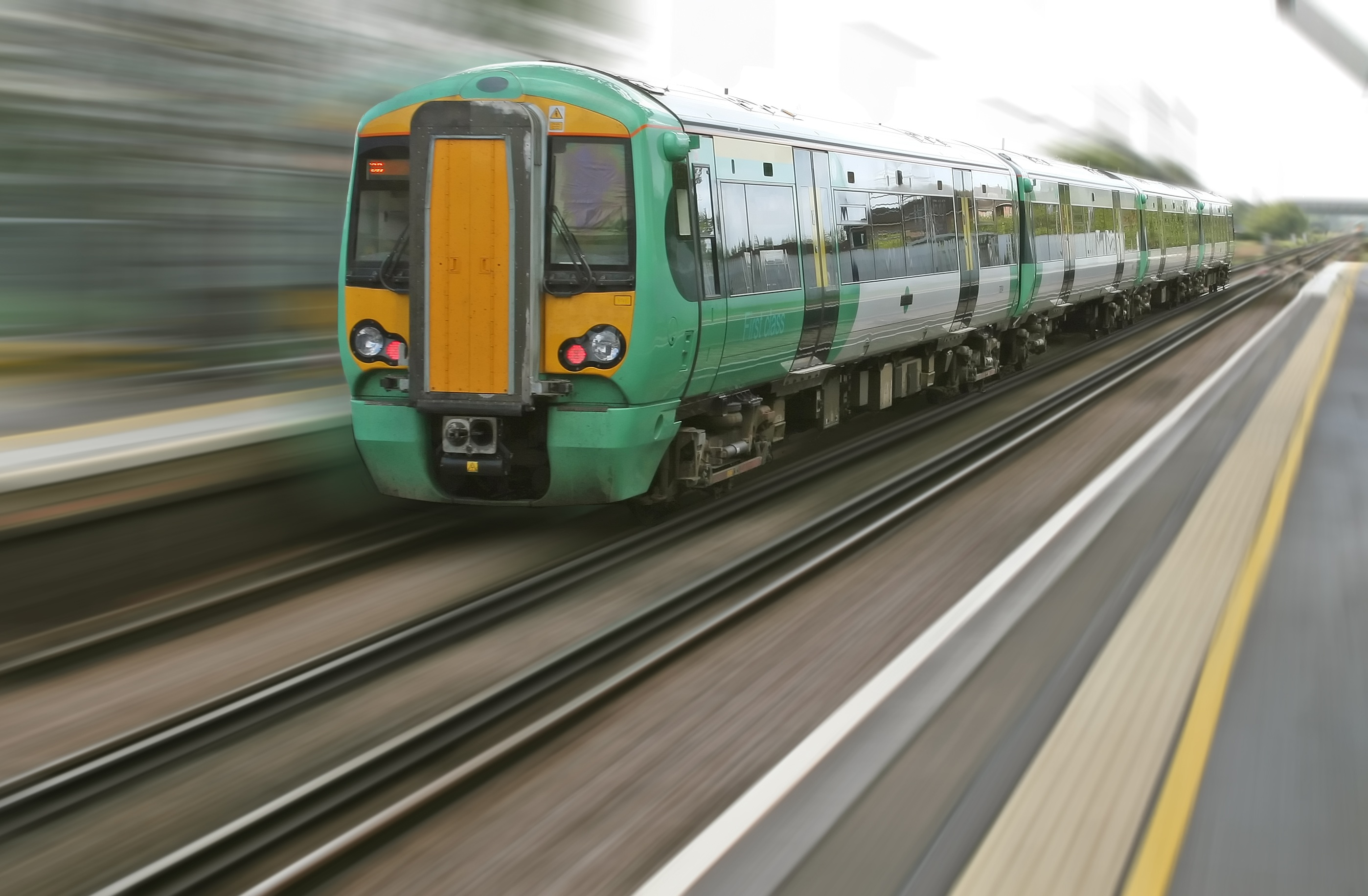 Retrofit Rail emissions green train moving on track